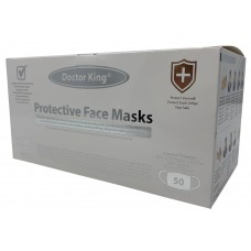 DOCTOR KING Protective Face Masks | Box of 50 Single Use Masks | Face Coverings | High Quality | 3 Layers of Protection | High Efficiency Microfilter: BFE Bacterial Filtration Efficiency 99% | Compliant with UK GPSR 2005